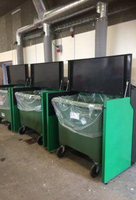 Udsugningskabiner 660 ltr. container i regenerat plast