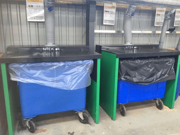 udsugningskabiner i genbrugsplast
