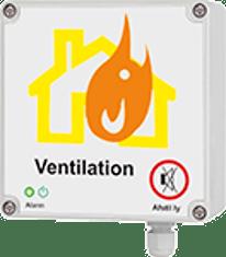 Brandspjæld med elektrisk tilslutning og styreboks